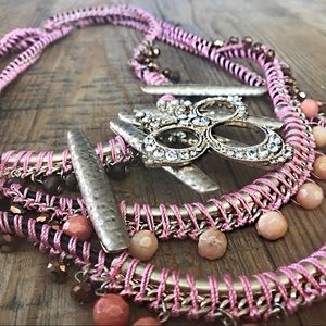 Anthropologie Tribal Inspired Bib Necklace in Pink